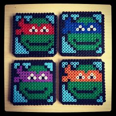 TMNT coasters hama perler beads by apexbutterfly