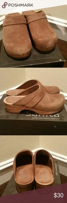 Brown Suede Sanita Rita style Clog Brand new Rita style Sanita Clogs. Brown suede top, wooden bottom. Size 7 Shoes Mules & Clogs