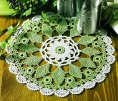 Doilies with colorful elements - Crochet Knitting Handicraft