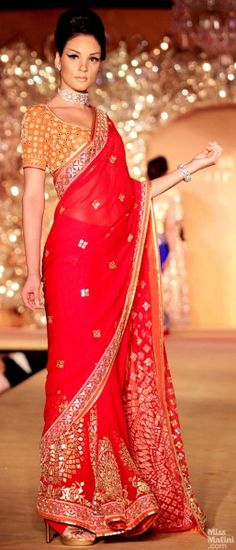 Gorgeous Red #Saree w/ Orange Choli from Golden Peacock Collection. #saree #sari #blouse #indian #hp #outfit  #shaadi #bridal #fashion #style #desi #designer #wedding #gorgeous #beautiful