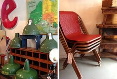 Sebel chairs and industrial light shades, Nook Vintage, Melbourne
