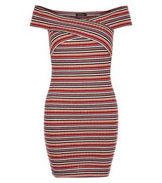 Mini robe rouge rayée à encolure bateau torsadée   New Look