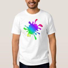 Funny Colorful Art Rainbow Paint Splatter Tee Shirt