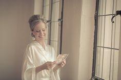 bride read, card, groom