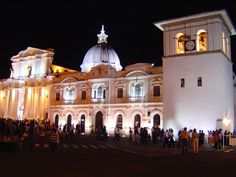 Cathedral and Torre del Reloj in Popayan, Cauca, Colombia