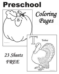 Preschool Thanksgiving coloring pages!