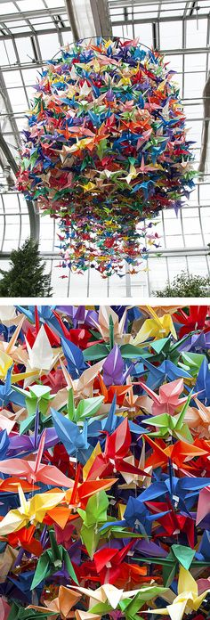 2,500 Origami paper cranes hang like a chandelier in the Cottage Wing of Lewis Ginter Botanical Garden's Conservatory
