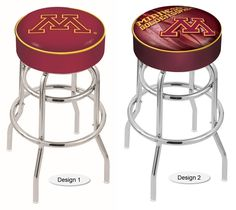 The NCAA officially licensed Minnesota Golden Gophers Bar Stool has a 4-inch cushion with a tough double-ring base and a chrome finish. Free shipping. Visit sportsfansplus.com for details.