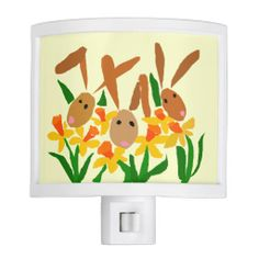 Bunny Rabbits and Daffodils Nightlight #bunny #rabbits #daffodils #nightlights #art #funny #easter And www.zazzle.com/tickleyourfunnybone*