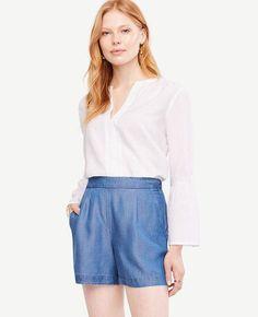 #Ann Taylor - #Ann Taylor Ann Taylor Petite Chambray Drapey Shorts - AdoreWe.com