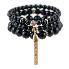 Black Color Karma Bracelet Set