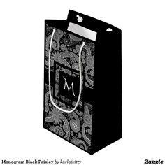 Monogram Black Paisley Small Gift Bag