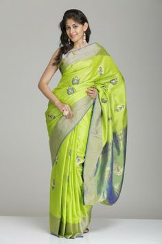 Lime & Blue Soft Silk Saree With Gold Tissue Border & Floral Motifs
