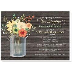 I wanted to share with you these Rustic Floral Wood Mason Jar Family Reunion Invitations? Do you like them?  | Rustic Family Reunion invitations designed with an orange and teal floral mason jar theme with yellow and green accent flowers, printed over a dark brown rustic wood pattern illustration. Provide the wording you will need to fit your event and celebration.