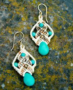 turquoise earrings- white and blue earrings- micro macrame earrings