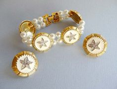 Star Nautical Summer White Bracelet & Earrings by thejewelseeker, $75.00 #TeamLove #vintage #jewelry #Fashion #etsyretwt