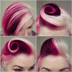 Diablo Rose Victory Roll Raspberry Ripple Vintage Rockabilly Hair Pin Up La Riche Directions Pink