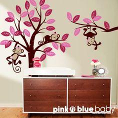 Wall decals  Girl monkeys int tree Nursery Wall door pinknbluebaby, $125.00