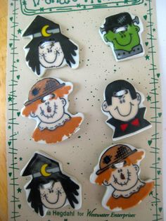 Ceramic button monsters scarecrow Halloween  by pinksewingroom, $3.49