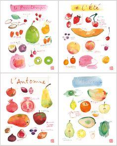Kitchen art print, Set of 4 posters, Seasonal fruits, Food artwork, Colorful home decor, Watercolor painting, Kitchen wall art Kitchen print