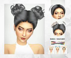 Newsea Double Bun Hair Recolor for The Sims 4