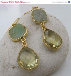 SALE Amethyst Earrings Gemstone Earrings Druzy Earrings by Belesas