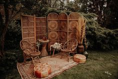 Boho wedding styling with rattan furniture. Cane furniture styling for wedding. Persian rug and Moroccan pouffes. Shoot conceptualised by Wonderland Invites and shot by Esme Whiteside. Wedding Shoot, Boho Wedding, Bohemian Wedding Decorations, Bohemian Weddings, Backdrop Wedding, Bohemian Bride, Forest Wedding, Woodland Wedding, Indian Weddings