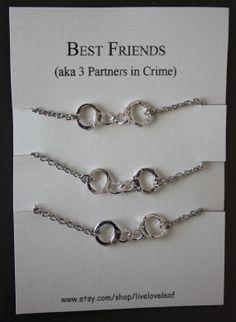 3 Partners in crime matching Best Friends Bracelets - Silver Handcuffs Bracelet, handcuffs charm bracelet, bracelet handchain BFF jewelry