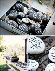 Get Creative: Wishing Stones Wedding Guest Book. http://www.modwedding.com/2013/12/12/get-creative-wishing-stones-wedding-guest-book/