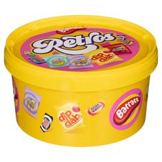 Enjoy some nostalgic treats with this fabulous Retro Sweets Tub from Barratt. Filled with your favourite sweets, like Black Jack, Fruit Salad & more - B&M. Galaxy Easter Eggs, Toby Carvery, Dip And Dab, Raspberry Trifle, Retro Sweets, Pick And Mix, Christmas Sweets, Jack Black, Coffee Cans