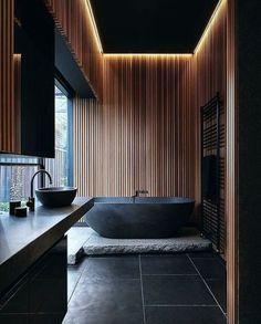 Black and wood bathroom  #black #wood #bathroom Via...