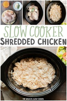 Slow Cooker Shredded Chicken Need shredded chicken for a recipe? Use this slow cooker method to make shredded chicken easily. Great for use in Mexican recipes, for sandwiches or in soups. Slow Cooker Huhn, Crock Pot Slow Cooker, Slow Cooker Recipes, Crockpot Recipes, Cooking Recipes, Kid Recipes, Crockpot Dishes, Cooking Tips, Slow Cooker Shredded Chicken