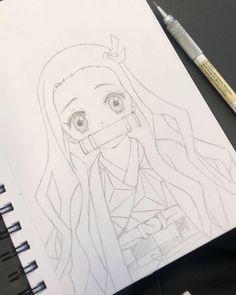 Nezuko Kamado Kimetsu no yaiba Anime Drawings Sketches, Dark Art Drawings, Anime Sketch, Cute Drawings, Cute Cartoon Characters, Cartoon Art, Anime Characters, Anime Character Drawing, Manga Drawing
