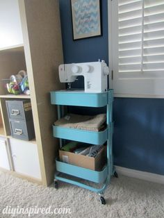 Craft Room Ideas- metal kitchen cart turned craft cart from Ikea! Sewing Nook, Sewing Room Storage, Craft Room Storage, Diy Storage, Room Organization, Storage Cart, Extra Storage, Raskog Ikea, Ikea Kitchen Cart