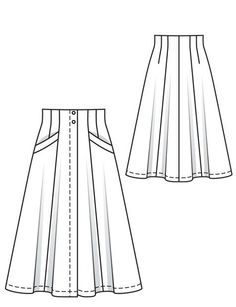 Flared Skirt 05/2012 #106A || (59 ins) (2 5/8 yds) | Vilene/Pellon | 6 flat inside buttons | 2 hammer-on snap fasteners.