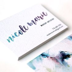 Logo & Business Card Design for Makeup Artist, using watercolor illustration and hand lettered styled logo. By Rosa Pearson Design Mais Art Business Cards, Business Card Design, Watercolor Design, Watercolor Illustration, Makeup Artist Logo, Makeup Artists, Simple Wedding Cards, Name Card Design, Print Packaging