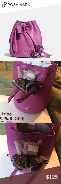 """Spring Fling! Coach Wristlet, Stunning Color! Spring ready! Brand new with tags, Coach Hyacinth Pebbled Leather Small """"Bucket Bag"""" style wristlet. 5-1/2"""" (L) x 6-1/4"""" (H). Magnetic tabs & drawstring closure. Flower embellishments. Leather strap attaches to the back of bag, appx 6"""" strap drop. Coach's Iconic Horse and Carriage """"Coach New York"""" polished nickel logo. """"Coach"""" logo hang tag can be removed/relocated. Fully lined with Hyacinth Twill/Nylon-Blend Fabric. First photo is stock, the…"""