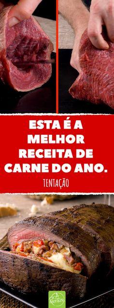 Este corte de picanha com capa de gordura, que a deixa bem macia, é a pedida para o churrasco ou o jantar com convidados. Aqui vamos criar um assado com um sabor riquíssimo. #carne #picanha #churrasco #receita #assado #recheio #meat #receita #cozinha #cozinhar