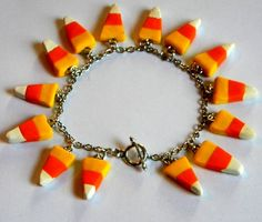 Candy Corn Charm Bracelet - Halloween Jewelry -Polymer Clay Candy Food