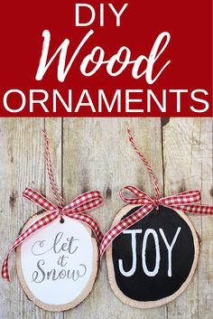 Check out these adorable DIY Wood Ornaments! These are so easy and cute, and they are fun to personalize for friends and family! Merry Christmas, Christmas Crafts, Christmas Decorations, Christmas Projects, Holiday Crafts, Holiday Decor, Christmas Ideas, Countdown, Wood Ornaments