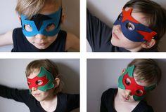 Masques en feutre de laine, maintenus par un élastique noir. Petite série, faite à la main.
