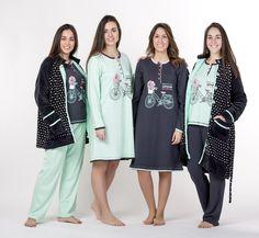 pijama bata mujer chica señora estampado gris verde pantalon camiseta largo bicicleta flores topos diseño Textiles, Lingerie Sleepwear, Unisex, Pajama Set, Underwear, Stylish, How To Wear, Jackets, Lounge