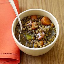 Slow Cooker Lentil Soup by Weight Watchers  I sub'd rosemary for bay leaf,, regular bacon for canadian, and used only 6 cups of liquid.  Top with nonfat plain greek yogurt.  Yum!