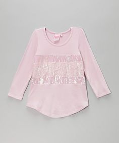 Another great find on #zulily! Pink Lace Sequin Tee - Toddler & Girls by Lipstik Girls #zulilyfinds