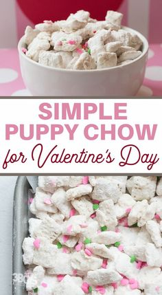 chex mix snack for valentines day Puppy Chow Recipes, Chow Chow, Yummy Treats, Sweet Treats, Chex Mix, Puppies, Holiday Crafts, Happy, Valentines