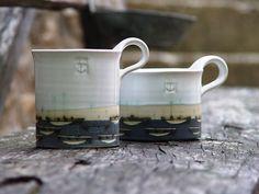 Stoneware Pottery Mug Coffee Mug Hand Painted Mug Ocean