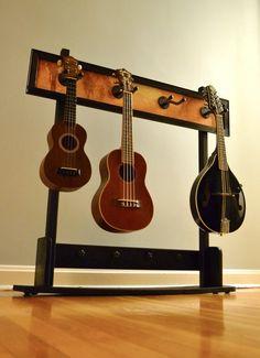Custom ukulele/mandolin stand-- perhaps a bit more stylish than my Wall O' Strings, haha.