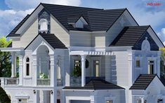 Classic House Design, House Front Design, Roof Design, House Plans Mansion, Front Elevation, Home Fashion, Perspective, Floor Plans, Flooring