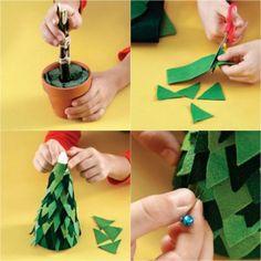 Felt Christmas tree tutorial in a clay pot