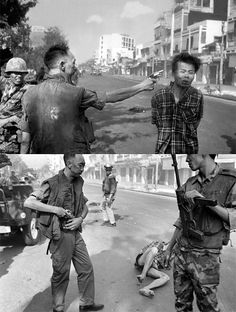 South Vietnamese General Nguyen Ngoc Loan, chief of the national police, shot a suspected Vietcong officer Nguyen Van Lem in the head publicly during the Tet Offensive in February 1968.